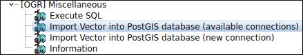 QGIS Processing tools to import vector layers in PostGIS